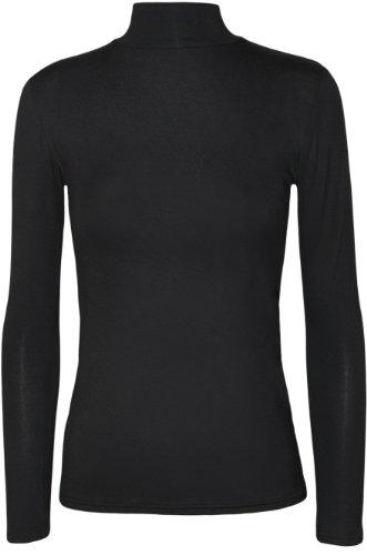 WearAll - Damen Einfarbig Rollkragen Langarm Jersey Top - Schwarz - 36-38