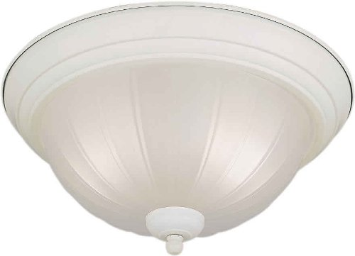White Forte Lighting 20000-02-03 Flush Mount with Fluted Satin Etched Glass Shades