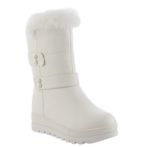Sweet Womens Charm Snow Boots Heel White Low Mid Platform Foot Calf w7UUq6fR