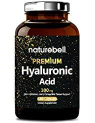 Maximum Strength Hyaluronic Acid Supplements, 250mg per Serving + Vitamin C, 200 Capsules, Supports Skin Hydration, Joints Lubrication and Antioxidant, Non-GMO and Made in USA ()