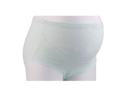 Unilove Maternity Underwear Panties Support Seamless Pregnancy Briefs Cotton (L/XL, Green)