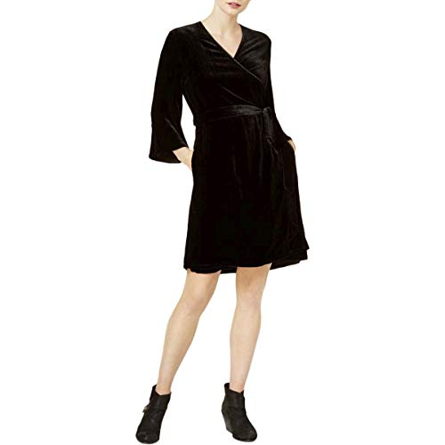 Eileen Fisher Womens Petites V-Neck Bell Sleeve Wrap Dress Black PM