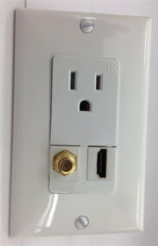 CUSTOM WHITE WALL PLATE HUBBELL AC 15A 110V POWER OUTLET + HDMI 1.4 + F-