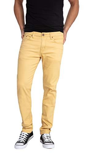 (WULFUL Men's Skinny Slim Fit Stretch Straight Leg Jeans/Khaki/34Wx32L)
