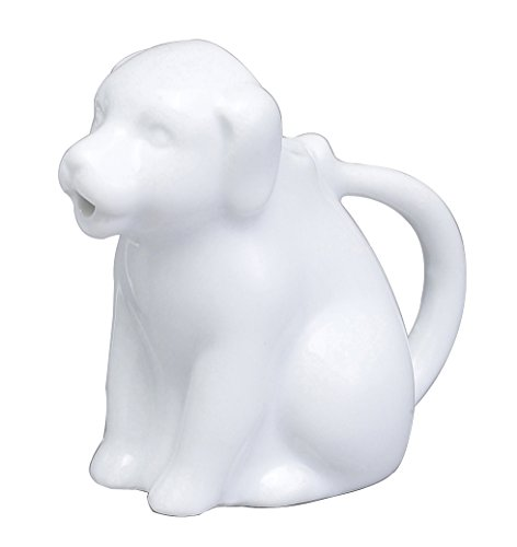 HIC Mini Dog Creamer Coffee Tea Milk Syrup Dressing Server with Handle, Fine White Porcelain, 2-Ounces (White Mini Creamer)