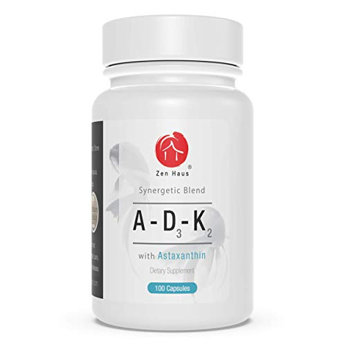 Zen Haus ADK with Vitamins A, D3 and K2 (Soy-Free) with Astaxanthin - Supplement for Vision, Strong Bones and Teeth, and Immune System Support - D3 Complex with Antioxidants