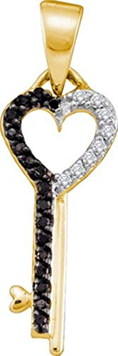 Aienid 10Kt Yellow Gold 0.12ct Diamond Key Pendant Necklace For Ladies