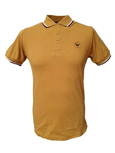 (Warrior England UK Men´s Pique Twin-Tipped Polo Shirt Mustard Yellow Skin Mod Punk (Large (L) Slim-Fit))