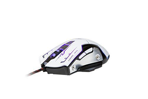(K-RAY M738 Ergonomic High-Precision 6 Buttons Gaming Mouse with 7-Colors Breathing LED Light and 1200-3200 DPI for PC/Mac (White Mouse))