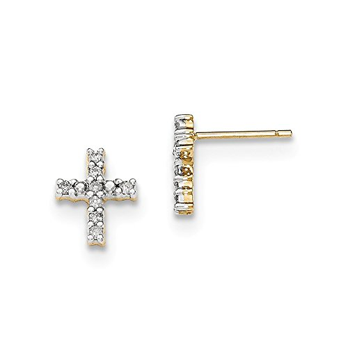Perfect Jewelry Gift 14K Gold Polished Diamond Cross Post Earrings by Jewelry Brothers Earrings