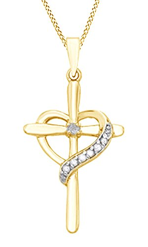 AFFY White Natural Diamond Cross with Heart Pendant Necklace in 14k Yellow Gold Over Sterling Silver (0.1 Ct)