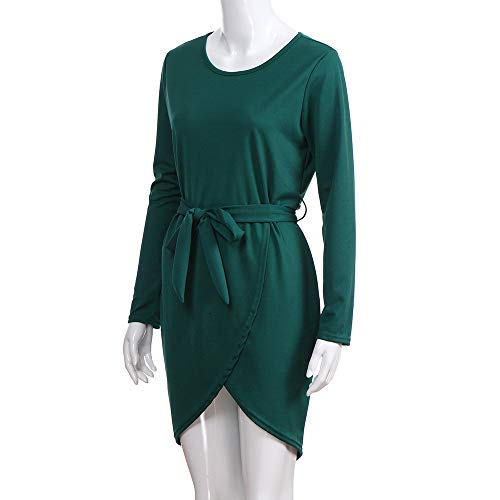 Elegant Sweatshirt Bandage Long Casual Chanyuhui Solid Dress Slit Womens Front Tops Green Sleeve Tunic Bodycon Dresses Dresses dvvXf6