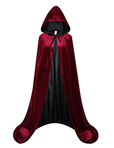 (GRACIN Adult Halloween Costume Cape, Velvet Medieval Hooded Cloak Lined with Satin (Medium, Wine-red)