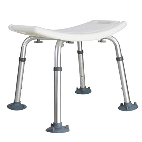 GLJMTY Bath Chair Aluminum Alloy no Back Bathroom Stool with Shower Card Slot Height 7 Gear Adjustment Comfortable Curved Large seat Plate for Disabled People, Patients, The Elderly and The infirm