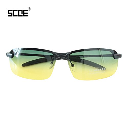 SCOE Men Fashion Day and Night Vision Metal Frame UV Protection Lens Polarized - Oblong Sunglasses