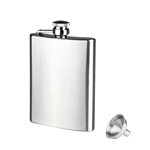 Fan-Ling 8oz Stainless Steel Pocket Hip Flask Alcohol Whiskey Liquor Screw Cap&Funnel,Easy to Carry,Fashion, Men's Necessary (Best Alcohol With Cigars)