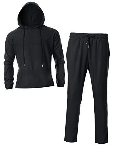 GIVON Mens Slim Fit Short Sleeve Lightweight Hoodie Set with Kanga Pocket /DCS012-BLACK-S