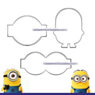 Anyana 3 pcs set Minions Stainless Steel Cookie Cutter Cake Mould Tool Kitchen Tool Sugar Paste Baking Mould Cookie Pastry]()