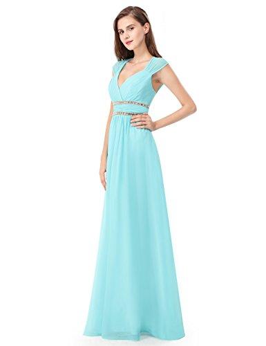 Ever Pretty - Vestido largo de noche elegante con cuello en V - 08697 agua