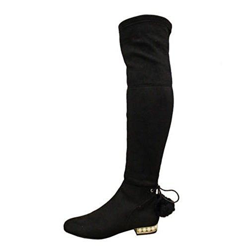 Bottes Le Perles Pompon Saute Chaussures Haut Genou Cuisse Plat Daim Dames 8 Femmes 3 En Talon Taille Styles Noir Sur r7wxqY7z8
