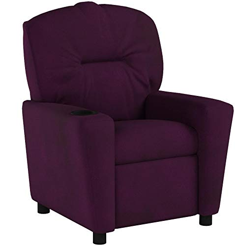 Contemporary Microfiber Kids Recliner with Cup Holder Purple