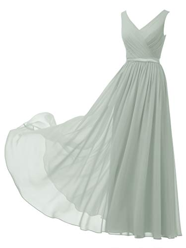 Alicepub V-Neck Chiffon Bridesmaid Dress Long Party Prom Evening Dress Sleeveless, Sage Green, US4