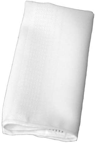 Twelve White Premium Quality Cloth Satin Striped Linen Dinner Napkins Made of 100% Polyester, Stain and Wrinkle Resistant, 17X17 Inches with Hemmed Edges for Everyday Use, Weddings, or Parties