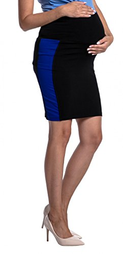 Maternity colour block midi skirt stretch waistband - 554c (Black & Royal Blue, US 8, L) (Maternity Stretch Skirt)