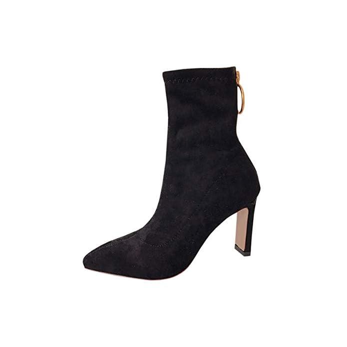 Lbtsq Fashion scarpe Da Donna comodo Slim 8cm Tacco Alto Stivali Camoscio Zip Puntata Spessa Tallone Nero Di Moda