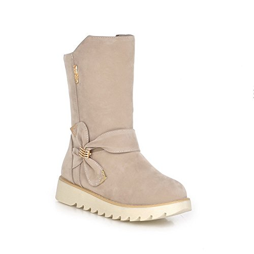 Metal Gold Frosted Boots Platform AdeeSu Spun Womens Ornament Beige Bowknot FwKHT1q