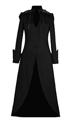 ANDYOU-Women Retrol Steampunk Button Closure Full Length Overcoat Black (Womens Full Length Overcoat)