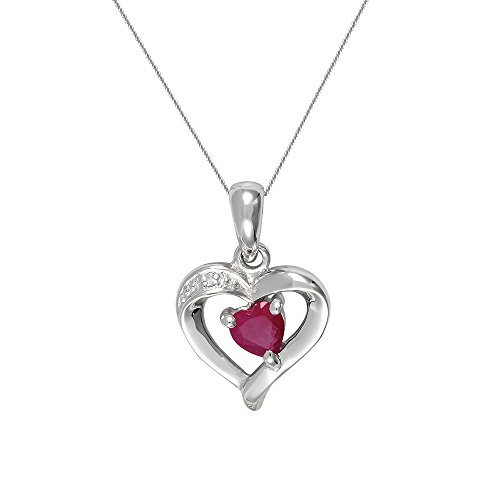 Ivy Gems 9ct Gold Ruby and Diamond Heart Pendant with 46cm Chain