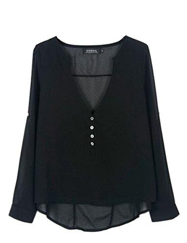 V Shinekoo de Mousseline Manches Sexy Femme Soie Col Noir shirt Tops en T Longues zv1tvn