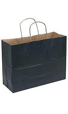 SSWBasics Large Black Paper Shopping Bags - 16''L x 6''D x 12 ½''H - Case of 100