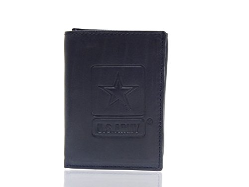 US Army Black Cowhide Leather Trifold ()
