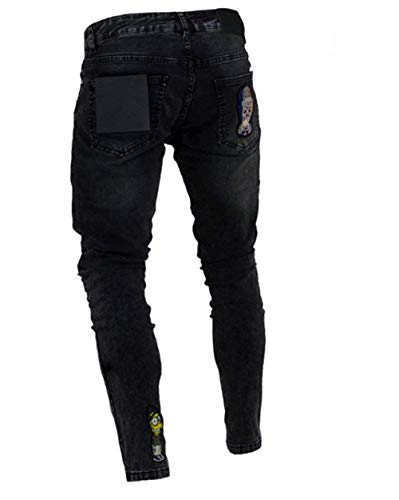 Denim Slim Con Strappati Fit Uomo Jeans Vintage Chiusura Casual Da Streetwear Hip Moderna Hop Nero Pantaloni nero xO7qqXw