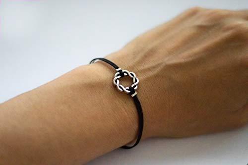 (Karma bracelet, black cord womans bracelet, silver braided circle charm, friendship bracelet, dainty minimalist jewelry, gift for her, yoga)