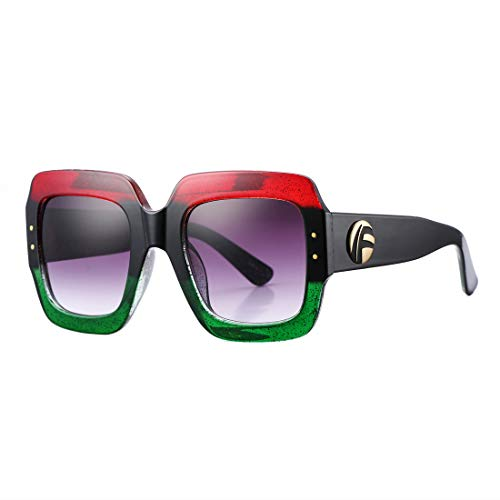 Frame Lens Gradient (Oversized Square Sunglasses for Women Fashion Brand Designer Frame Gradient Lens Shades (Multi-tinted))