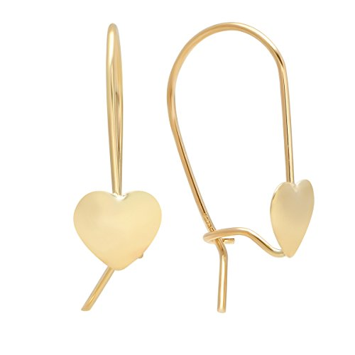 (Pori Jewelers 14K Solid Gold Lever-Back Heart Drop Earrings - High Polish Shiny Finish)