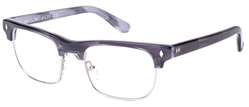 Tres Noir Optics Watson Clubmaster Wayfarer Sunglasses (Grey Tortoise & Silver Rim / - Clubmaster Optics Acetate