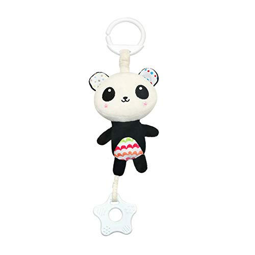 - Baby Stroller Sound Toys Cartoon Animal Shape Hanging Bell with Hook Children Grasp Development Plush Toys Set Musical Crib Mobiles (Panda)