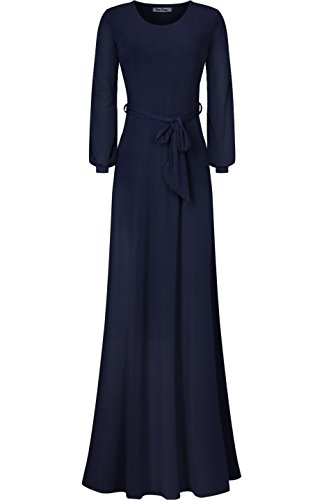 Bon Rosy Women's Cuffed Long Sleeve Round Neck Maxi A-Line Dress Navy L (Neck Scoop Long Sleeve Dress)