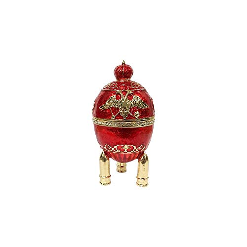 (Russian Faberge Replica Egg Trinket Box Eagle and a Crown with Crystals RED, 4.5