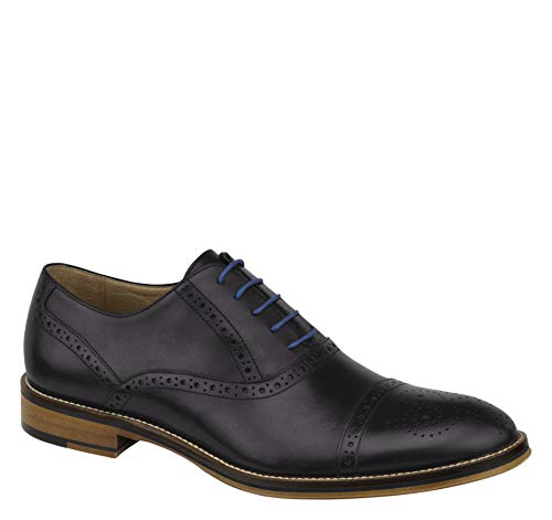 Johnston & Murphy Men's Conard Cap Toe Shoe Black Italian Calfskin 8 M US