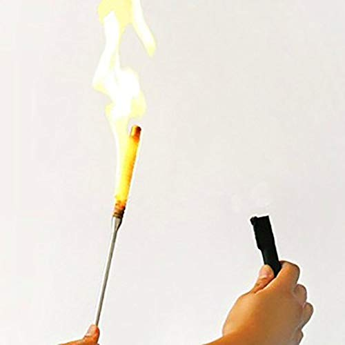 Flaming Torch to Appearing Cane Magic Tricks Magician Fire Magic Wand Stage Illusion Gimmick Props Comedy (Black)