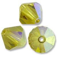 (Swarovski Crystal Bicone Beads 5301 8mm Lime AB (Package of 3))