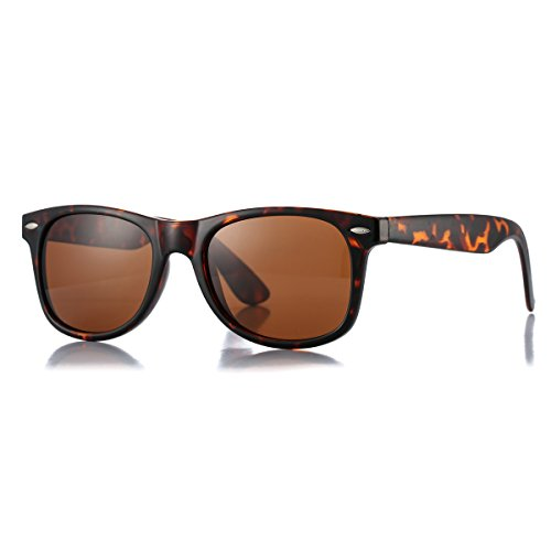 (AZORB Classic Polarized Sunglasses Unisex Square Horn Rimmed Design (Tortoise/Brown, 53))