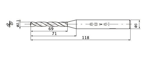Internal Coolant 2.1 mm Cutting Dia 3 mm Shank Dia. Mitsubishi Materials MWS0210X30DB MWS Series Solid Carbide Drill 30 mm Hole Depth 0.4 mm Point Length