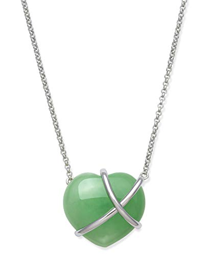 Belacqua Sterling Silver Natural Jade Heart Necklace for Women
