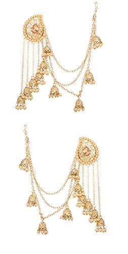 Bindhani Fashion Bollywood Jewellery Traditional Ethnic Bridal Bride Wedding Bridesmaid Gold Plated Kundan Pearl Drop Jhumka Jhumki Head chain Indian Bahubali Earrings Jewelry For Women ()
